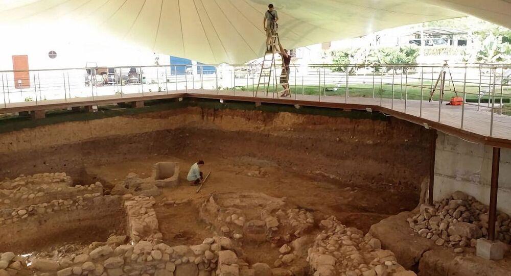 Zona sul da escavação na parte bizantina de Jericó