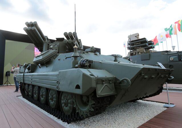 Sistema de defesa antiaérea russo Sosna, durante fórum militar EXÉRCITO 2018