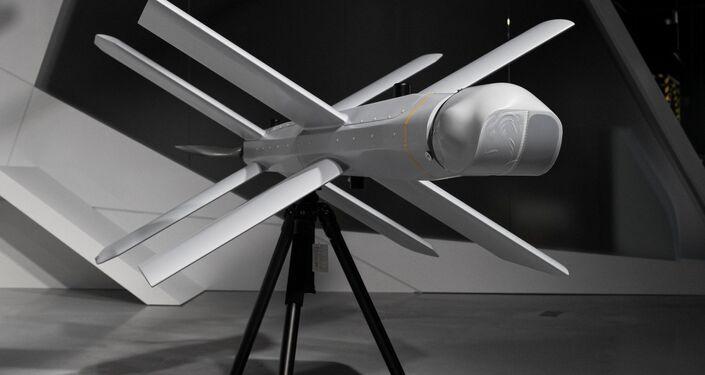 Drone kamikaze ZALA Lancet na apresentação anual do consórcio de armas russo Kalashnikov, em Moscou, Rússia