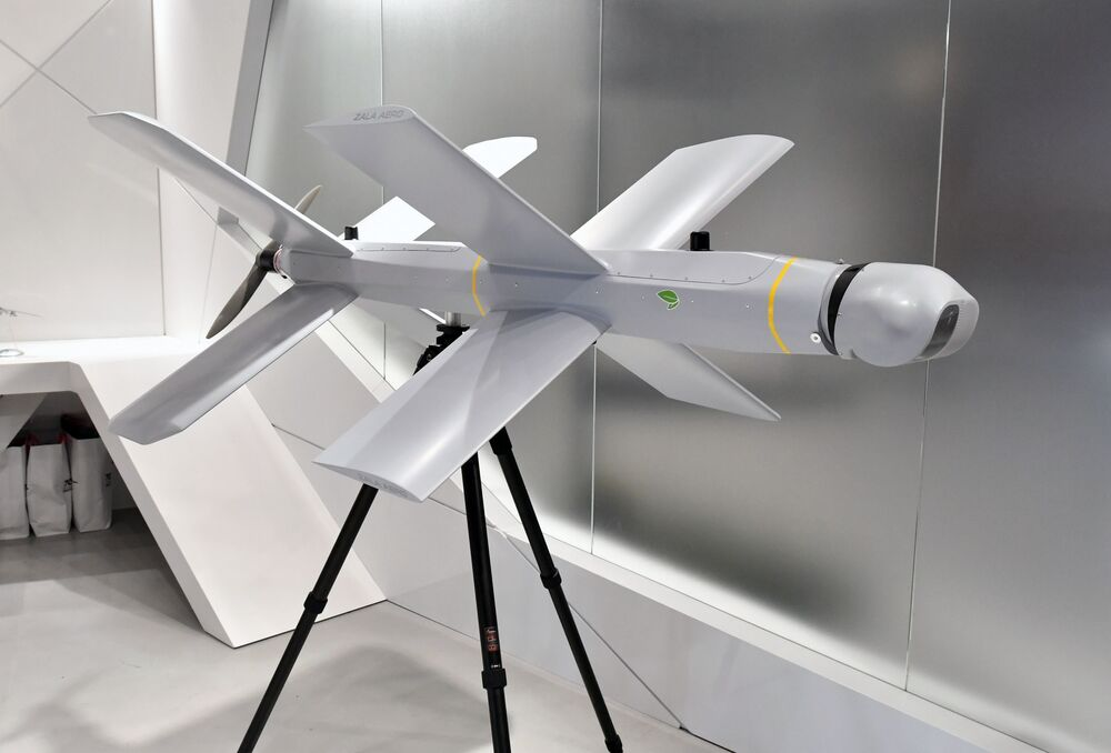 Drone kamikaze de alta precisão ZALA Lancet no estande do consórcio russo Kalashnikov, no fórum EXÉRCITO 2019