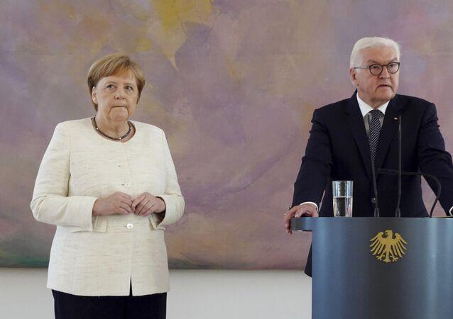 A chanceler da Alemanha, Angela Merkel, durante a recepção do presidente alemão Frank-Walter Steinmeier