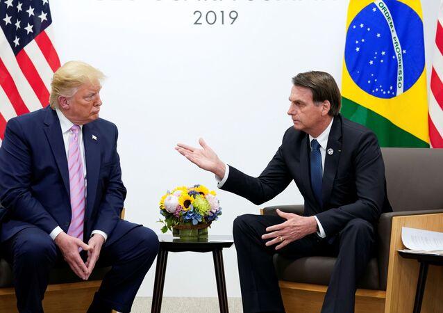 Encontro entre o presidente dos EUA Donald Trump com o mandatário brasileiro Jair Bolsonaro no G20, no Japão
