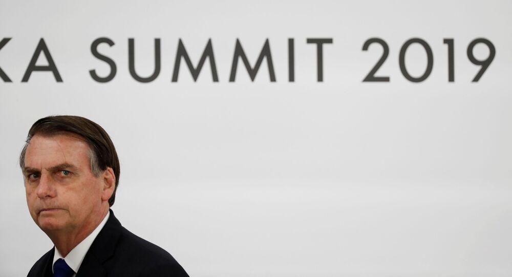 Presidente do Brasil, Jair Bolsonaro, durante entrevista coletiva na cúpula do G20 em Osaka, Japão, 29 de junho de 2019