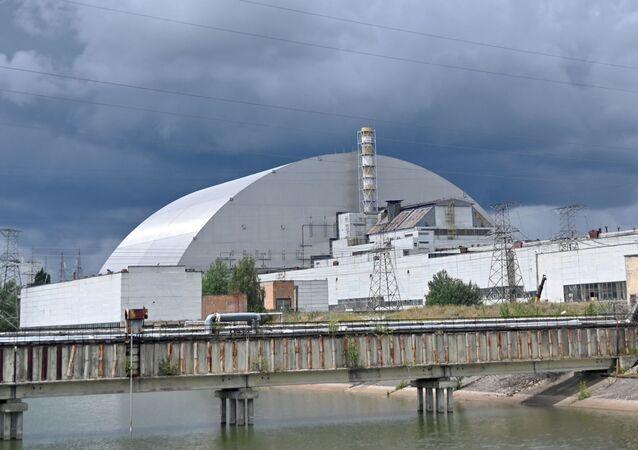 Visão geral do novo sarcófago da usina nuclear de Chernobyl, na Ucrânia, criado pela construtora francesa Novarka, 10 de julho de 2019