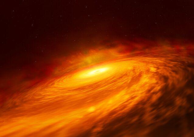 Buraco negro supermassivo no coração da uma galáxia espiral NGC 3147 (imagem artística)