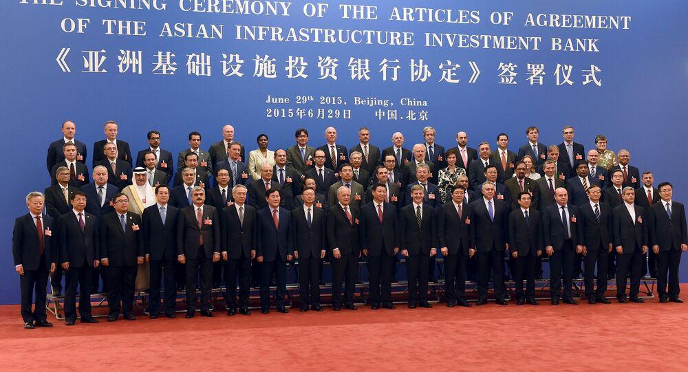 Cerimônia de assinatura do acordo do Banco Asiático de Investimento em Infraestrutura.