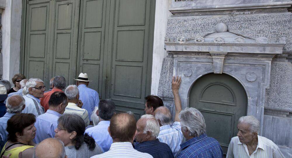 Bancos fechados na Grécia.