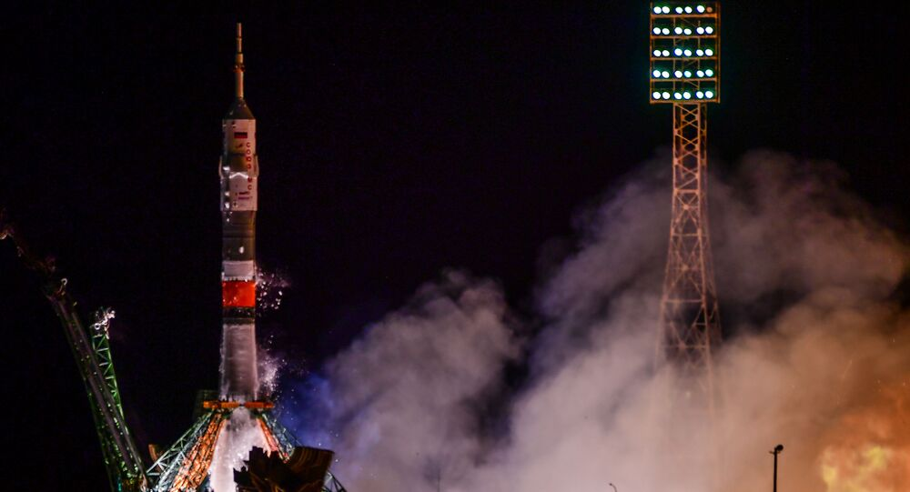Lançamento da Soyuz-FG com a Soyuz MS-13, voo ISS 59S, que transporta três membros da Expedição 60 para a Estação Espacial Internacional