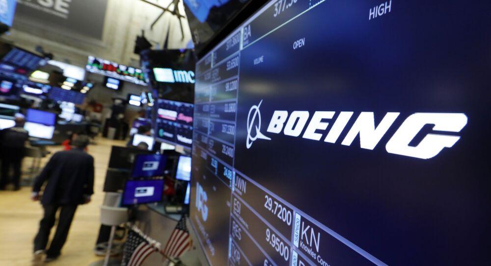 Logotipo da companhia Boeing na Bolsa de Valores de Nova York