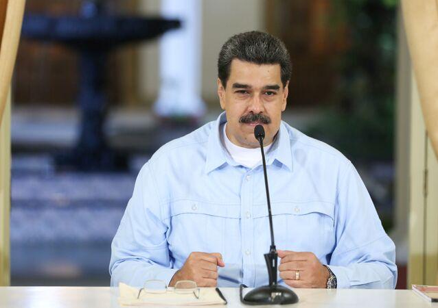 Presidente da Venezuela, Nicolás Maduro, durante uma reunião com os ministros no Palácio Miraflores, em Caracas