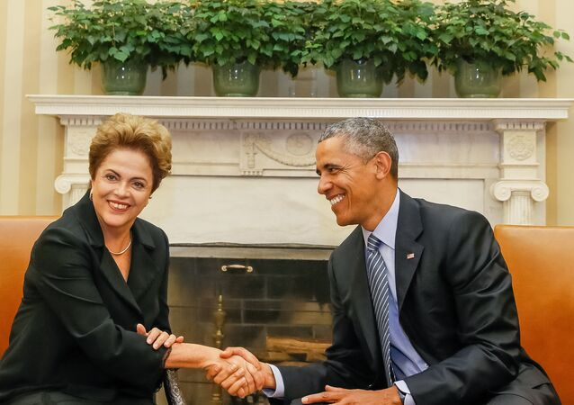 Presidenta Dilma Rousseff durante reunião de trabalho com o presidente dos Estados Unidos da América, Barack Obama. (Washington - EUA, 30/06/2015)
