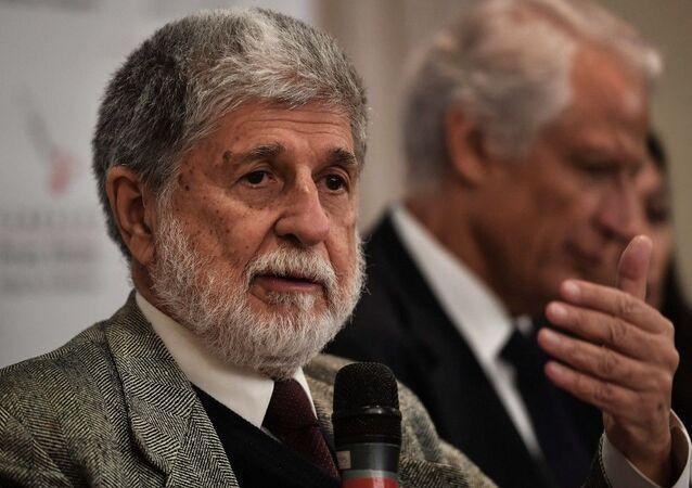 O diplomata brasileiro, Celso Amorim, durante coletiva de imprensa no seminário Ameças à Democracia e Ordem Multipolar, em São Paulo, em 13 de setembro de 2018.