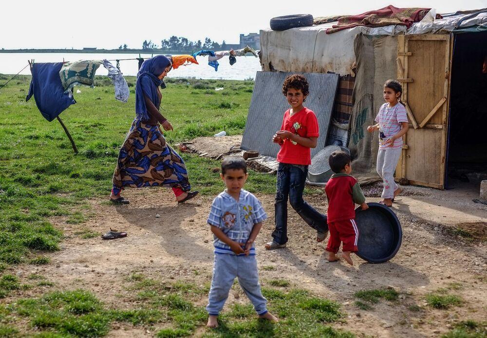 Acampamento de refugiados no norte do Líbano, perto da fronteira com a Síria