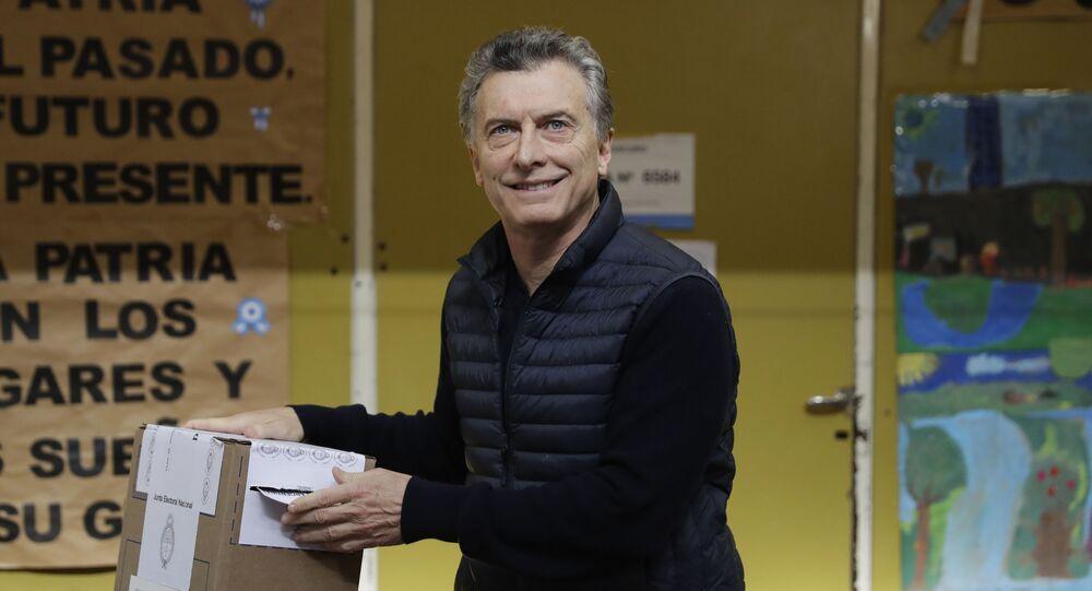 Presidente argentino Mauricio Macri votando nas primárias em Buenos Aires em 17 de agosto de 2017