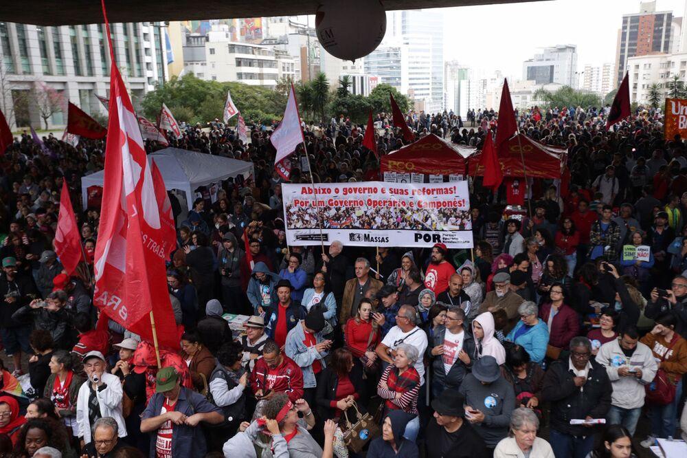 Manifestação contra o governo do presidente Jair Bolsonaro em São Paulo, 13 de agosto de 2019