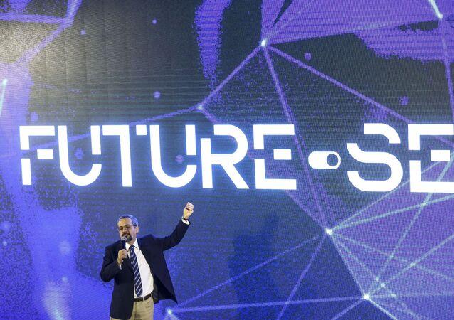 O ministro da Educação, Abraham Weintraub, durante apresentação do programa Future-se