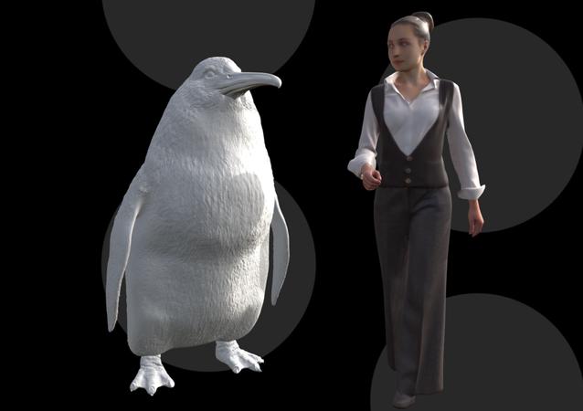 Projeção comparativa do pinguim gigantesco que teria habitado Nova Zelândia