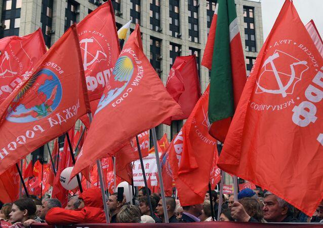 Participantes da manifestação organizada pelo Partido Comunista da Federação da Rússia, 17 de agosto de 2019