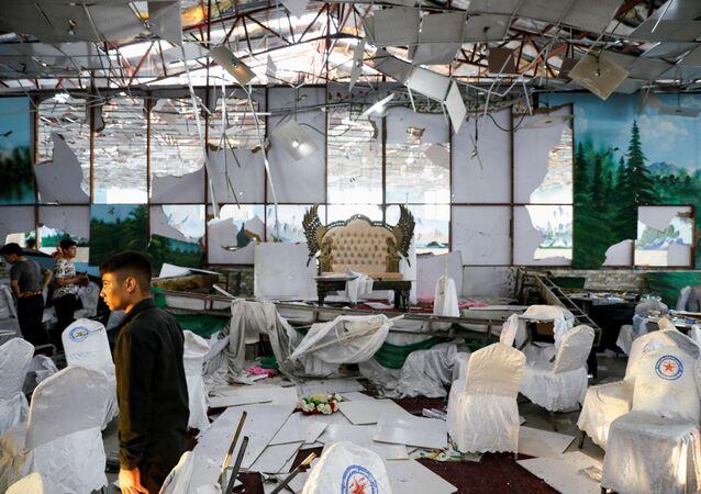 Salão de casamentos Dubai City na capital de Afeganistão após a explosão