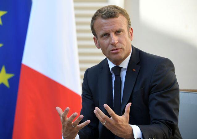 Presidente francês Emmanuel Macron durante reunião com o presidente russo, Vladimir Putin, em 19 de agosto de 2019.