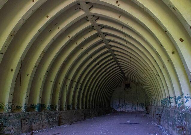 Hangar na base secreta de Dvina, perto da cidade de Postavy, na Bielorrússia