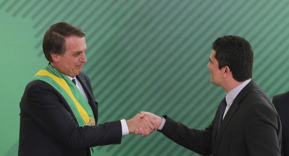 Jair Bolsonaro e Sergio Moro na posse de Bolsonaro, em Brasília.
