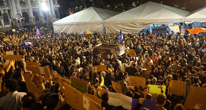 Manifestação na Cinelândia em defesa da Amazônia.