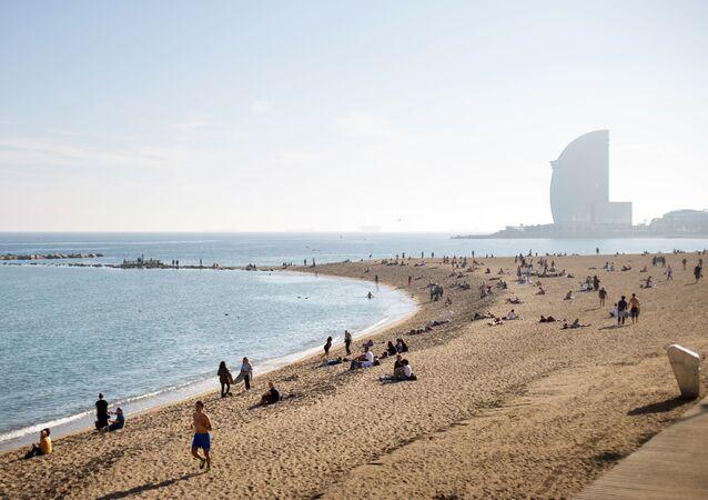 Praia de San Sebastián em Barcelona, Espanha