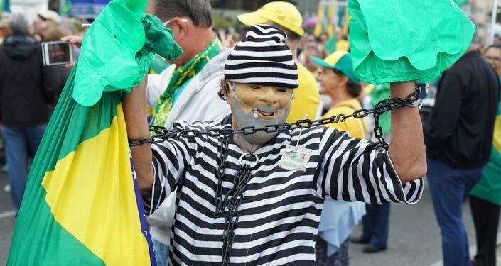 Manifestante de ato bolsonarista em Copacabana.