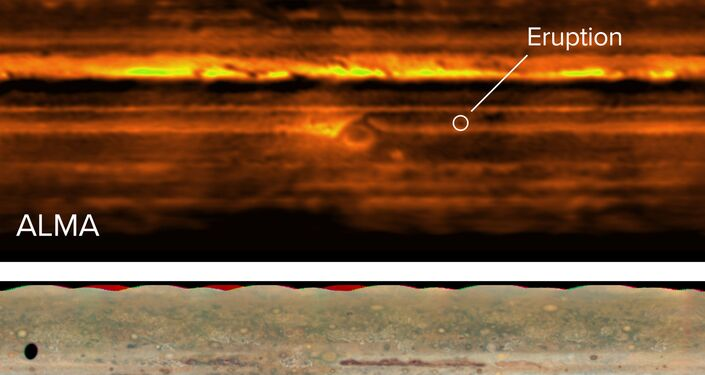 Mapa plano de Júpiter em ondas de rádio com o ALMA (acima) e luz visível com o Telescópio Espacial Hubble (abaixo). A erupção no Cinturão Equatorial Sul é visível em ambas as imagens