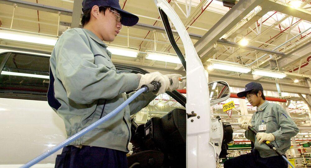 Uma fábrica de montagem da General Motors na China