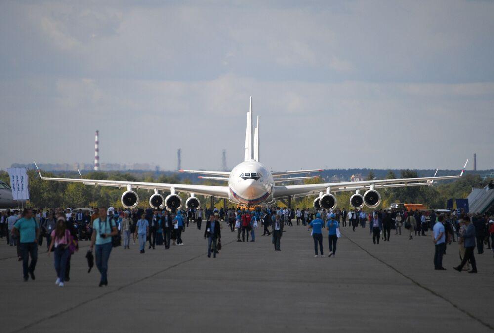 Avião de passageiros soviético e russo Il-96 no MAKS-2019, na Rússia