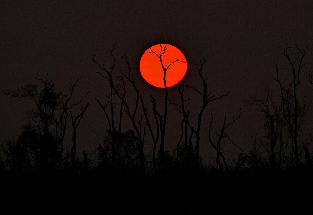 Pôr do sol sobre a floresta queimada na Amazônia brasileira