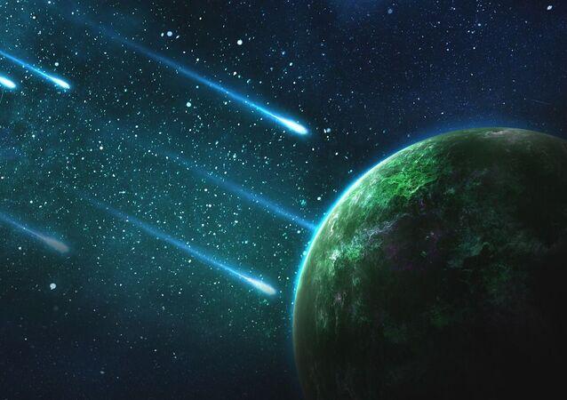 Asteroides caindo na Terra