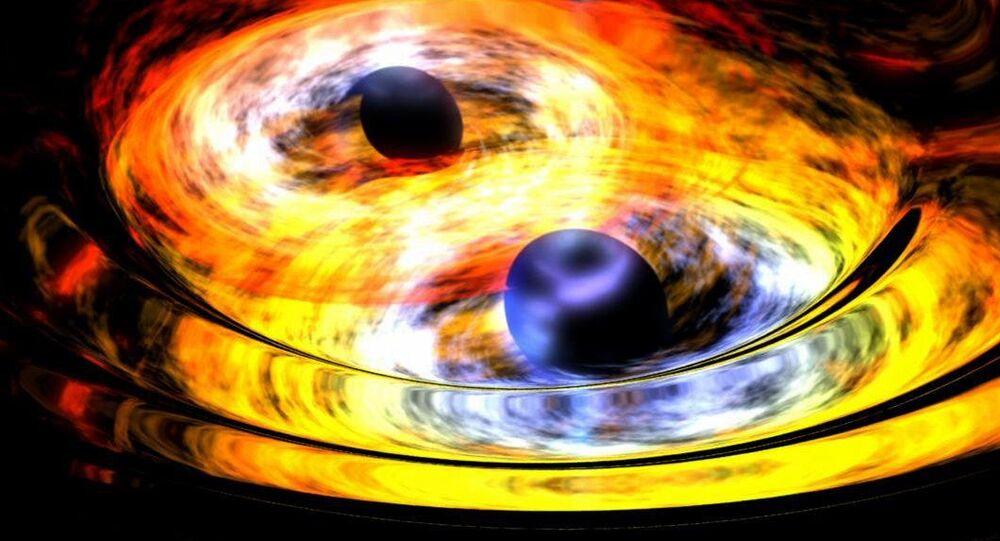 Ilustração artística de dois buracos negros
