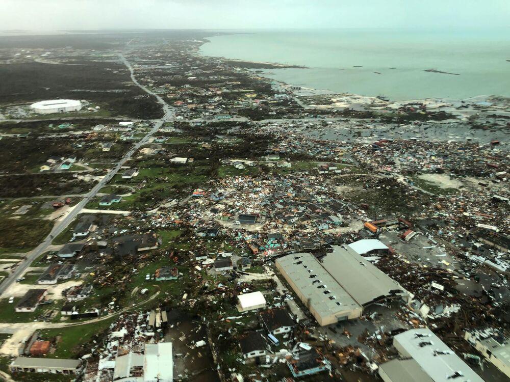 Vista aérea da devastação depois que o furacão Dorian atingiu as Ilhas de Ábaco, nas Bahamas, 3 de setembro de 2019