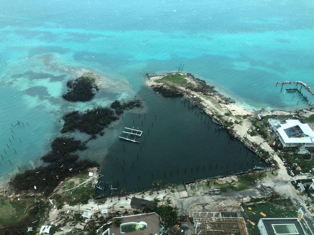Vista aérea da devastação depois que o furacão Dorian atingiu as Ilhas de Ábaco nas Bahamas, 3 de setembro de 2019