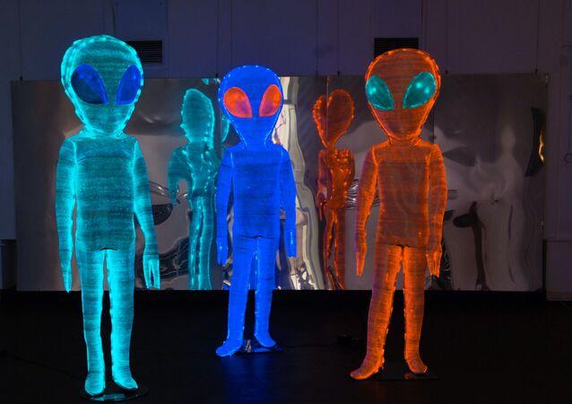 Alienígenas no Museu da Arte Contemporânea em Moscou