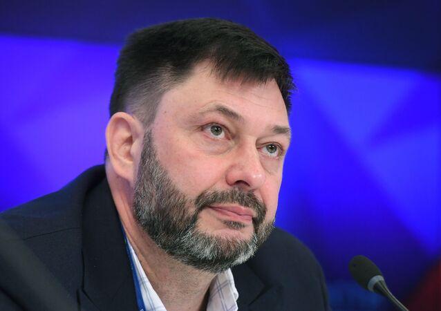 Chefe do portal RIA Novosti Ucrânia, Kirill Vyshinsky em coletiva de imprensa em Moscou, 9 de setembro de 2019