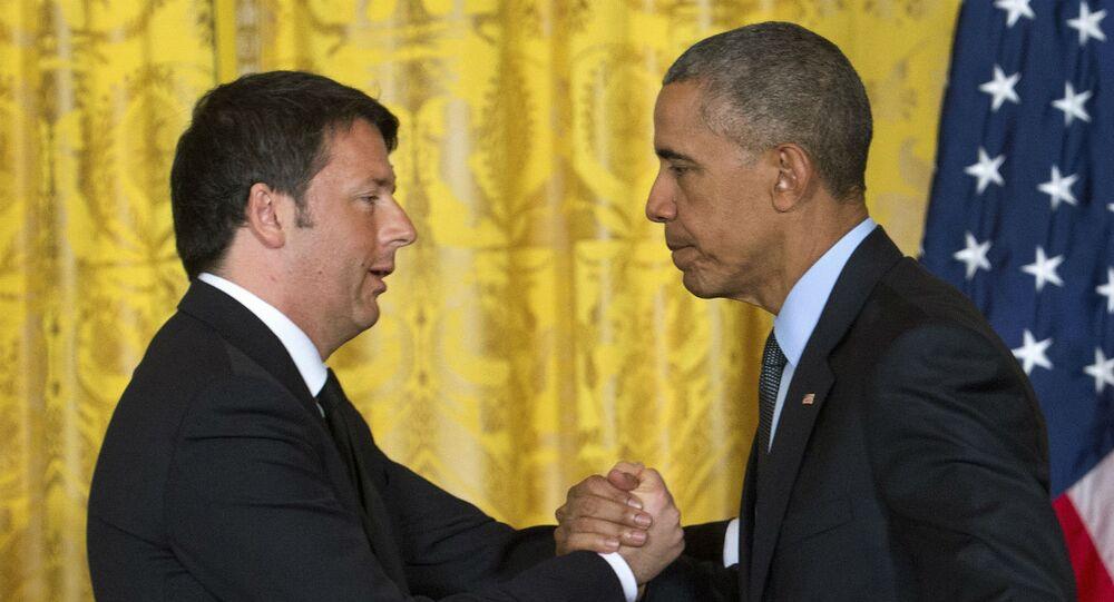 Matteo Renzi e Barack Obama, respectivamente, primeiro-ministro da Itália e presidente dos EUA.