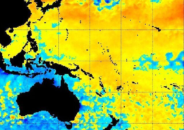 Onda de calor gigantesca no Pacífico