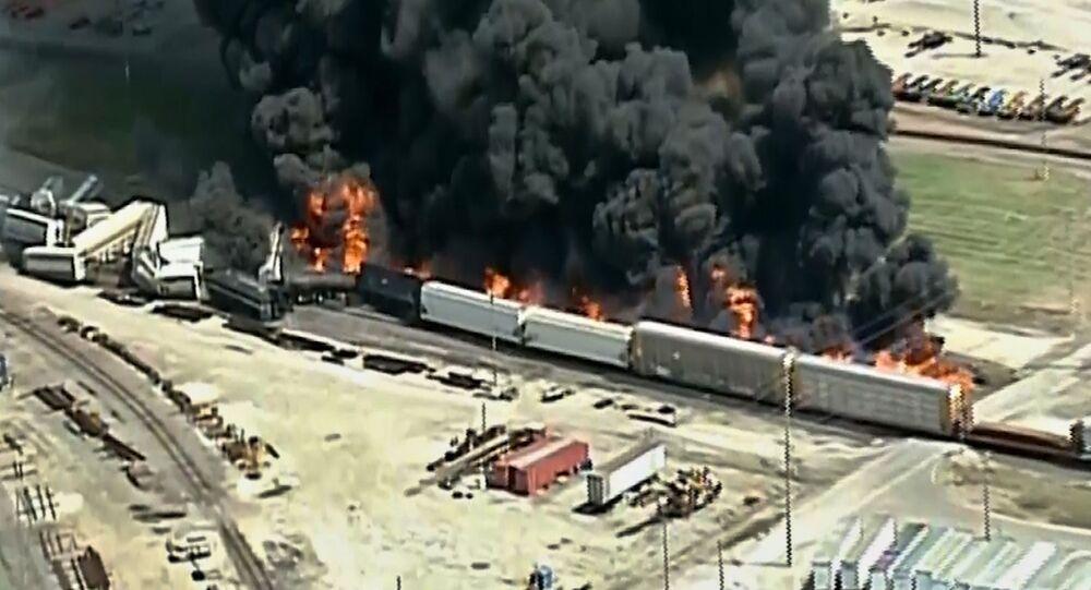 Acidente de trem em Dupo, Illinois, EUA, nesta terça-feira, 10 de setembro de 2019