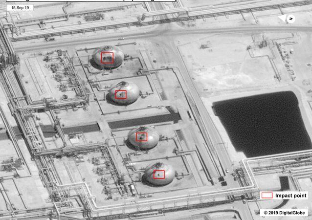 Imagem mostra danos à infraestrutura da instalação de petróleo de Khurais, da petroleira Saudi Aramco, localizada na Arábia Saudita