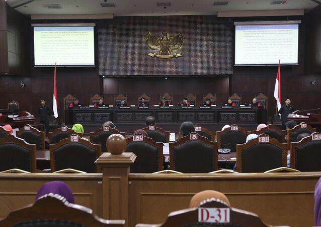 Sessão no Tribunal Constitucional da Indonésia, em Jacarta, para discutir a ilegalidade do sexo fora do casamento e entre pessoas do mesmo sexo