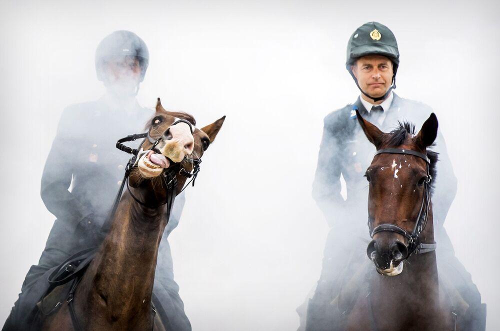 Escolta honorária de cavalaria treina na costa de Prinsesdag, nos Países Baixos, 16 de setembro de 2019