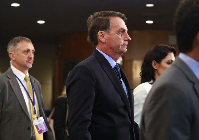 O presidente do Brasil, Jair Bolsonaro, chega à 74ª Assembleia Geral da Organização das Nações Unidas (ONU), no dia 24 de setembro de 2019.