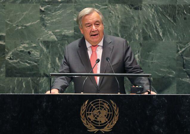 O secretário-geral da Organização das Nações Unidas (ONU) discursa na abertura da 74ª Assembleia Geral da ONU, em 24 de setembro de 2019