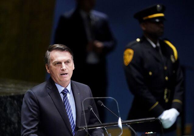 O presidente do Brasil, Jair Bolsonaro, discursa na 74ª Assembleia Geral da Organização das Nações Unidas (ONU), no dia 24 de setembro de 2019.