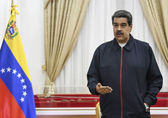Presidente da Venezuela, Nicolás Maduro, durante reunião no Palácio de Miraflores, em Caracas, Venezuela