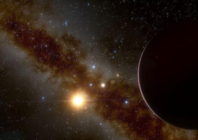 Representação do planeta gigante gasoso GJ 3512b orbitando ao redor da estrela anã vermelha GJ 3512